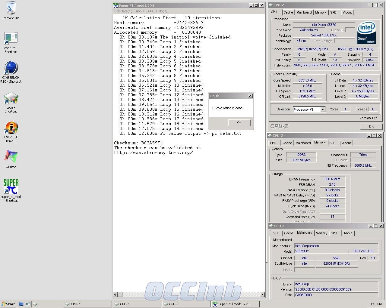 SuperPi 1M Xeon X5570