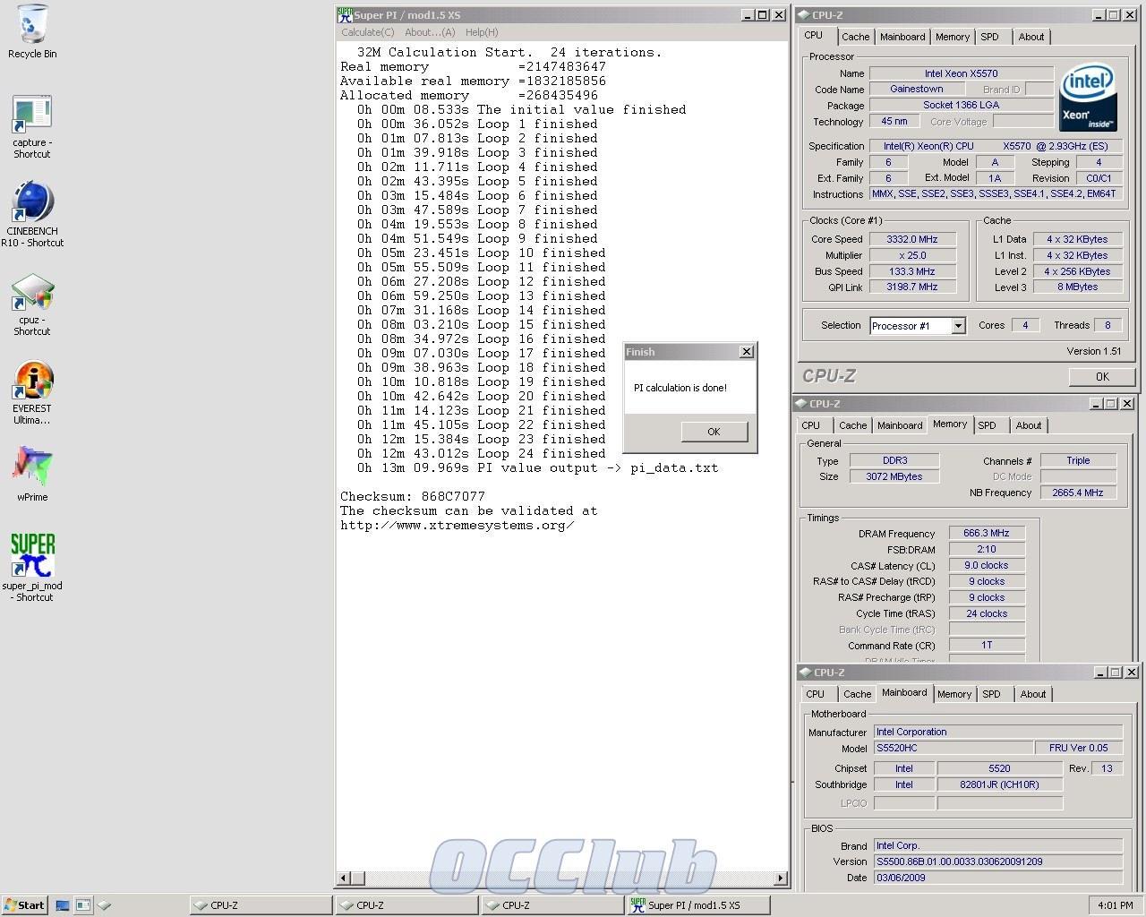 SuperPi 32M Xeon X5570