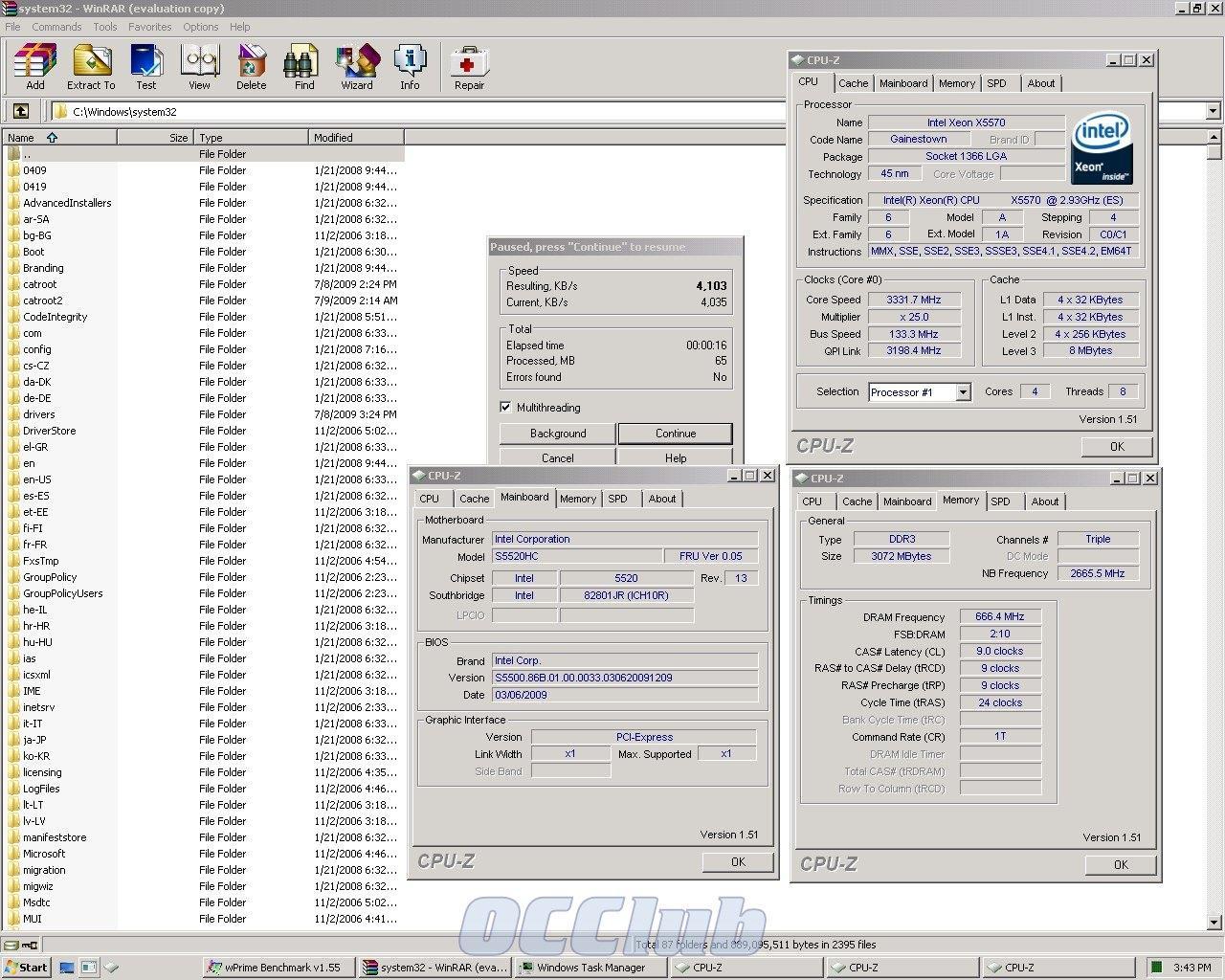 WinRAR Xeon X5570