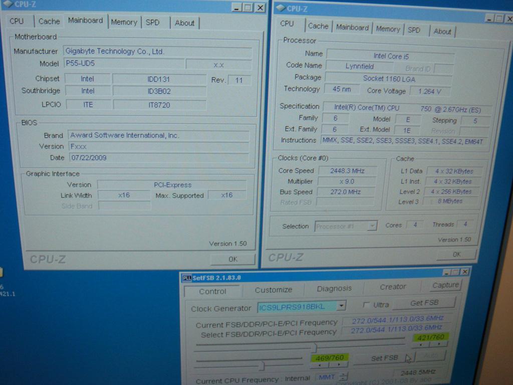 Gigabyte GA-P55-UD5 покоряет 272 BCLK