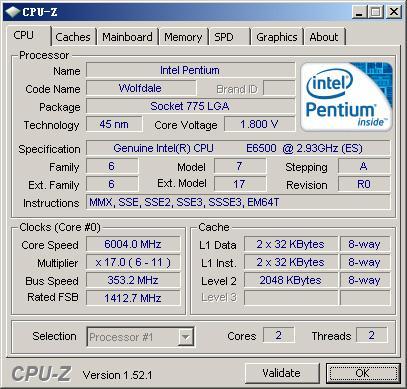Pentium E6500 разогнан до 6ГГц