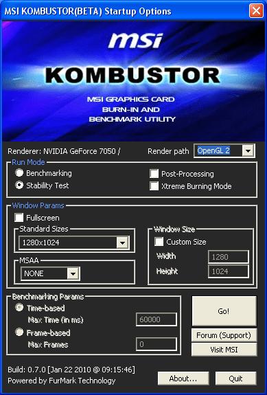 MSI Kombustor - тест для для проверки стабильности работы видеокарт