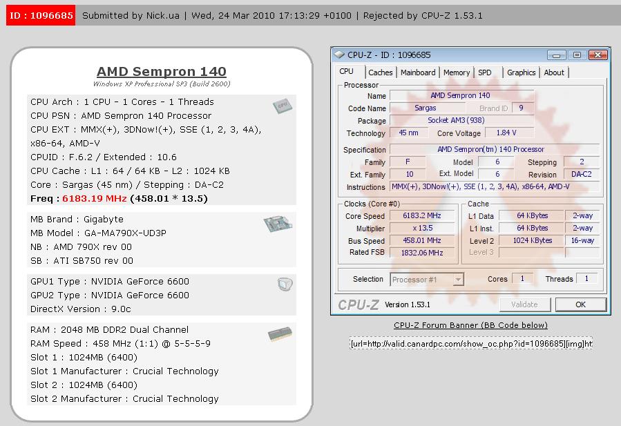Nick.ua покоряет рубеж в 6 ГГц  на AMD Sempron 140