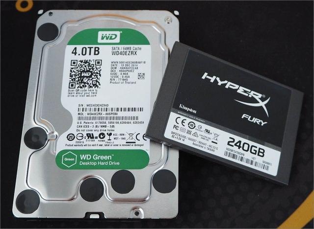 SSD+ HDD - лучшее решение для системы хранения. HyperX Fury 240 Gb и WD Green 4 Tb.