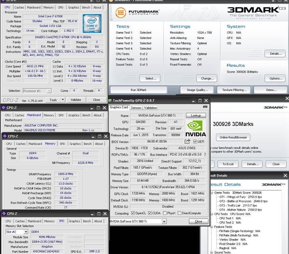 Российские оверклокеры установили мировой рекорд разгона в 3DMark03 на видеокарте ASUS ROG Matrix GTX 980 Ti Platinum Edition