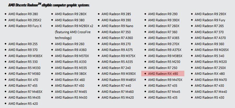 Radeon RX 490 замечен на сайте AMD