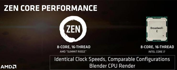 AMD Zen vs Intel Core i7 Broadwell-E