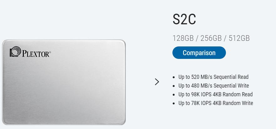 Plextor S2 – линейка SSD-накопителей начального уровня