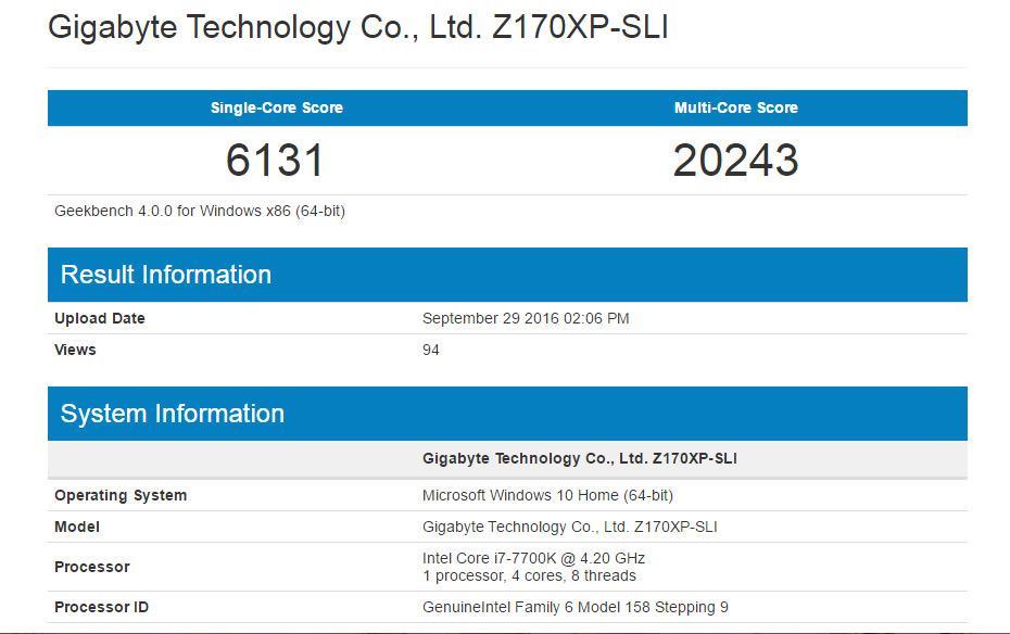 Intel Core i7 7700K Geekbench 2
