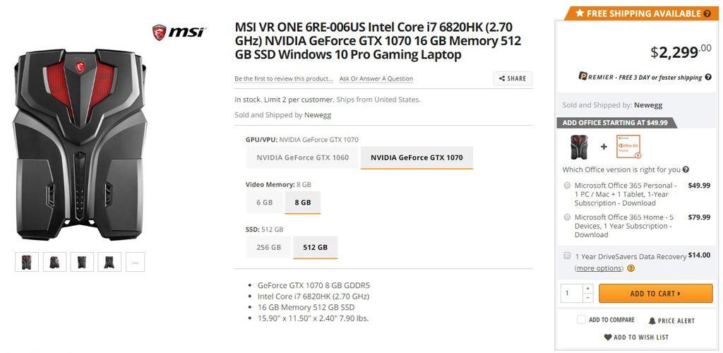 MSI VR One buy 3
