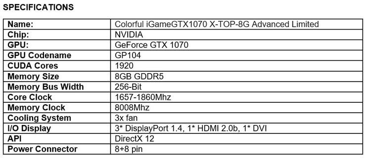 Colorful GTX 1070 iGame X TOP Advanced Limited 3