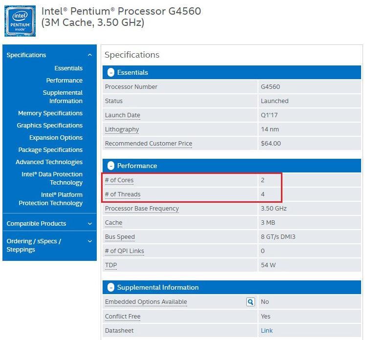 Новость дня: процессоры Intel Pentium поколения Kaby Lake получили Hyper-Threading