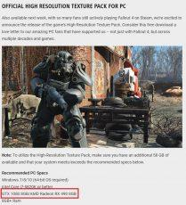 В требованиях к текстурному моду для Fallout 4 замечена некая Radeon RX 490 8 ГБ
