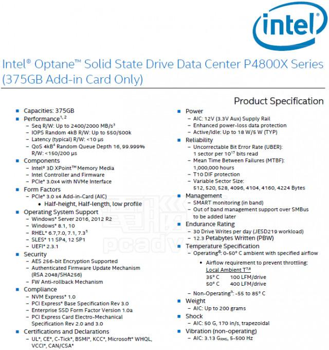 Intel Optane DC P4800X 1