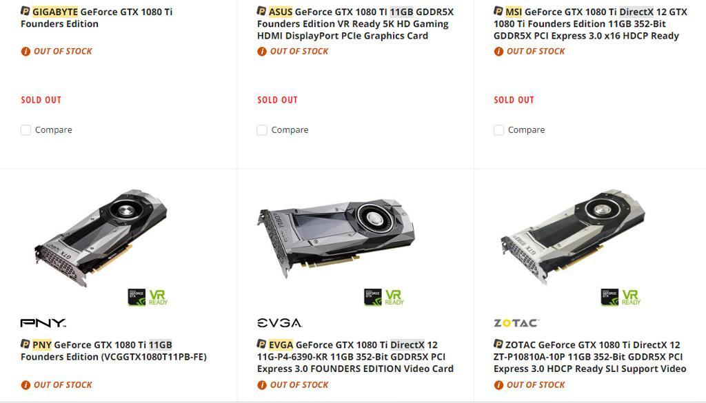 NVIDIA GTX 1080 Ti Sold out 2