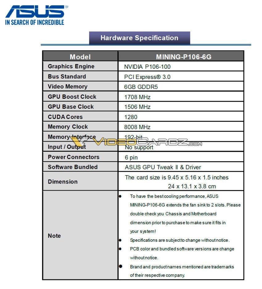 ASUS GP106 100 Mining 2