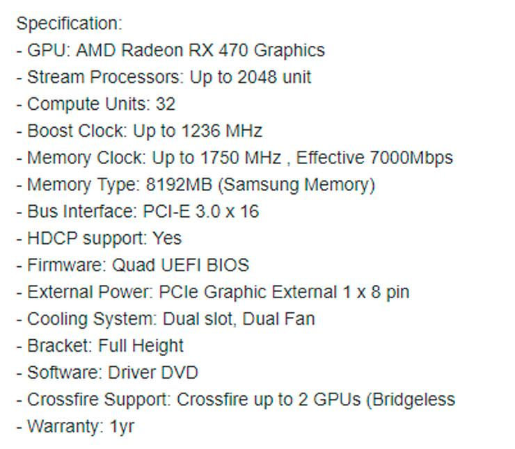 Sapphire Radeon RX 470 Mining Edition 1