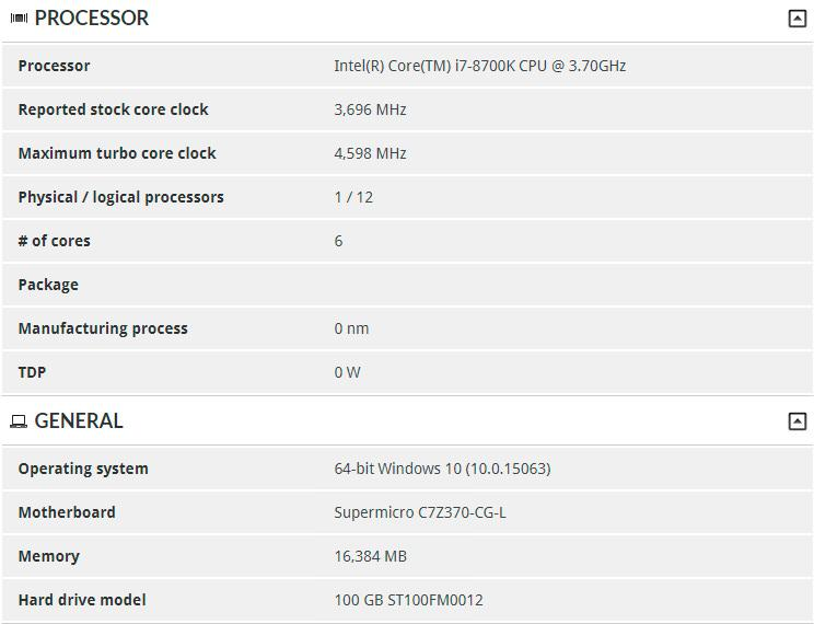 Intel Core i7 8700K 3dmark 2