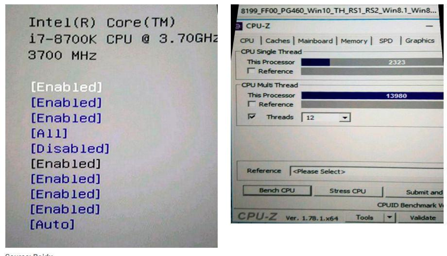 Intel Coffe Lake i3 8350K i3 8100 i7 8700K 4