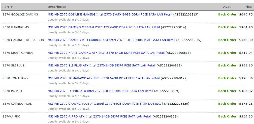 MSI Z370 motherboards price