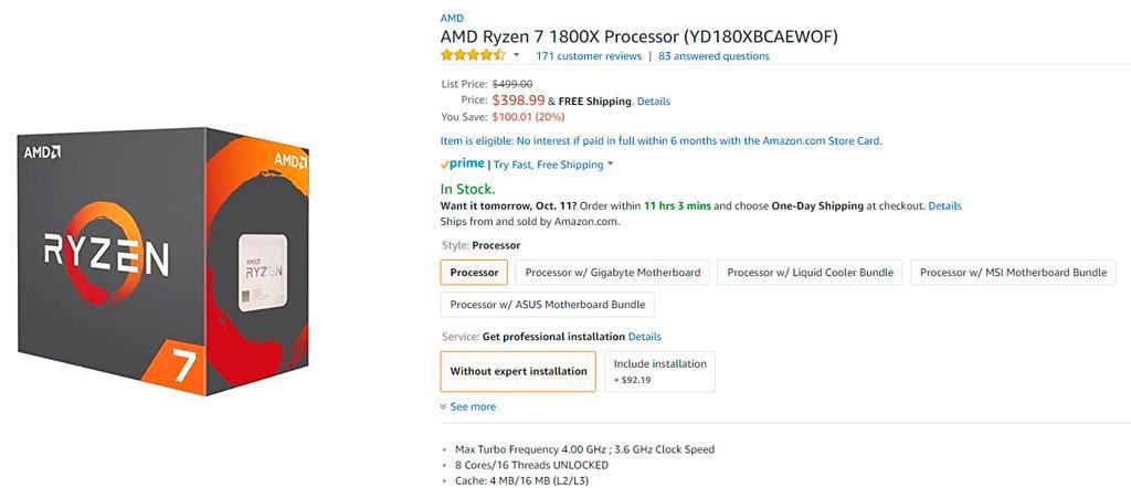 Процессоры AMD Ryzen 7 предлагаются с существенной скидкой