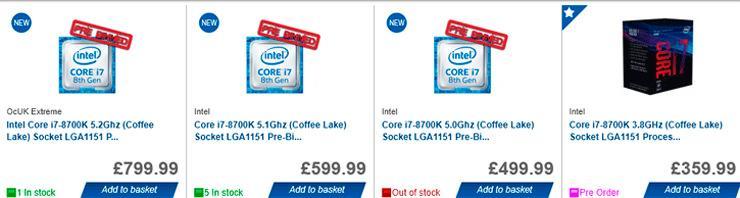 Intel Coffee lake Availability Dramatic 1