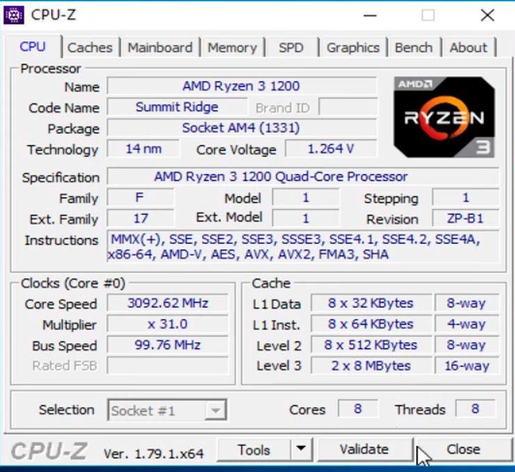 AMD Ryzen 3 1200 8 core 3