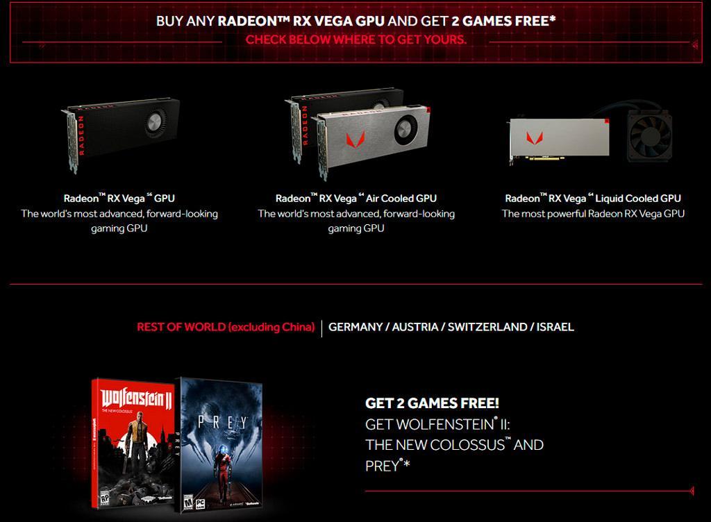 Wolfenstein II и Prey в подарок при покупке видеокарты AMD Radeon RX Vega
