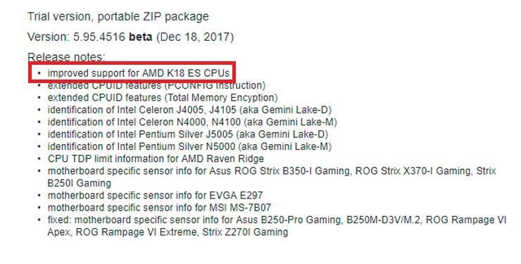 AIDA64 AMD Pinnacle Ridge