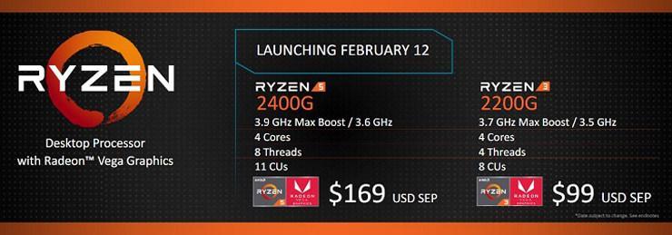 AMD Ryzen 5 2400G Ryzen 3 2200G 2
