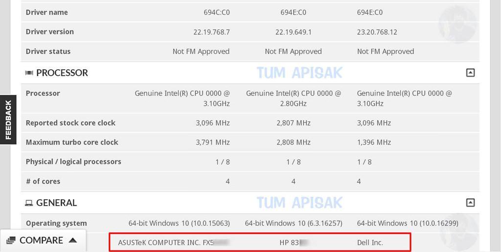 Intel Kaby Lake G ASUS HP dell 1