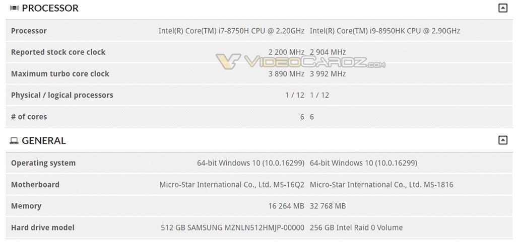 MSI notebook Intel Core i9 8950HK dual GTX1080