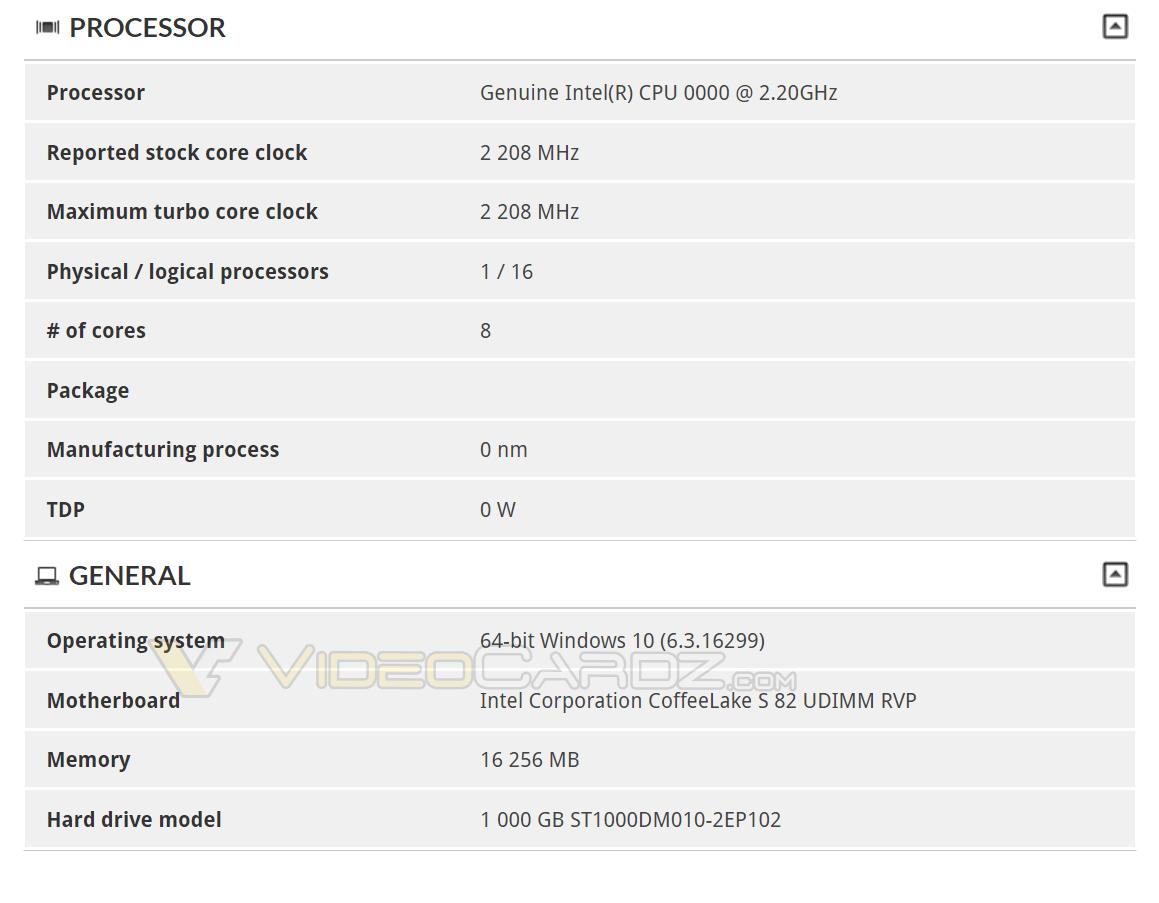 Intel Coffee Lake S 8 core CPU