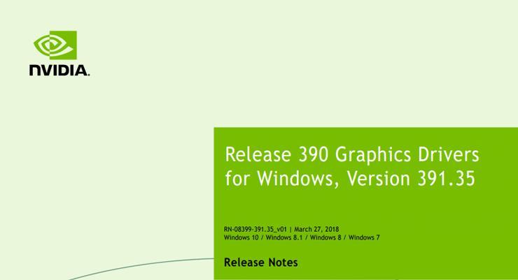 Драйвер NVIDIA GeForce обновлен (391.35 WHQL)
