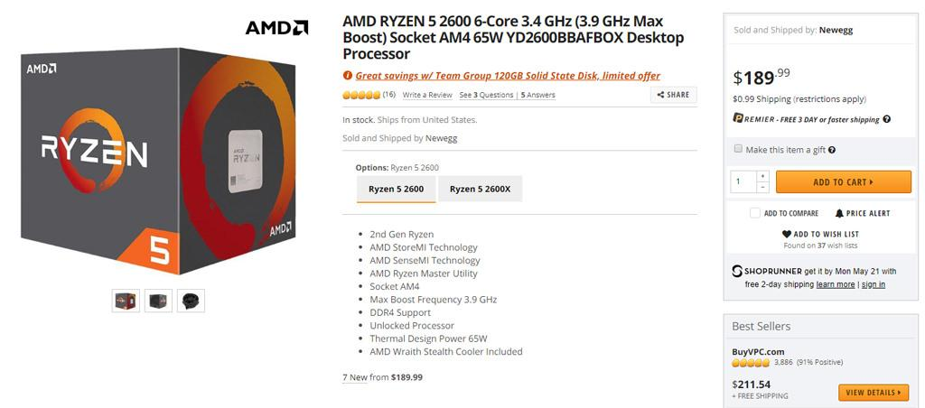 AMD Ryzen 2600 Sale