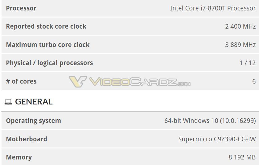 Intel Z390 Core 8700T