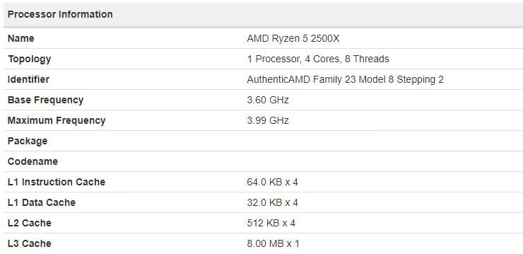 AMD Ryzen 5 2500X 2