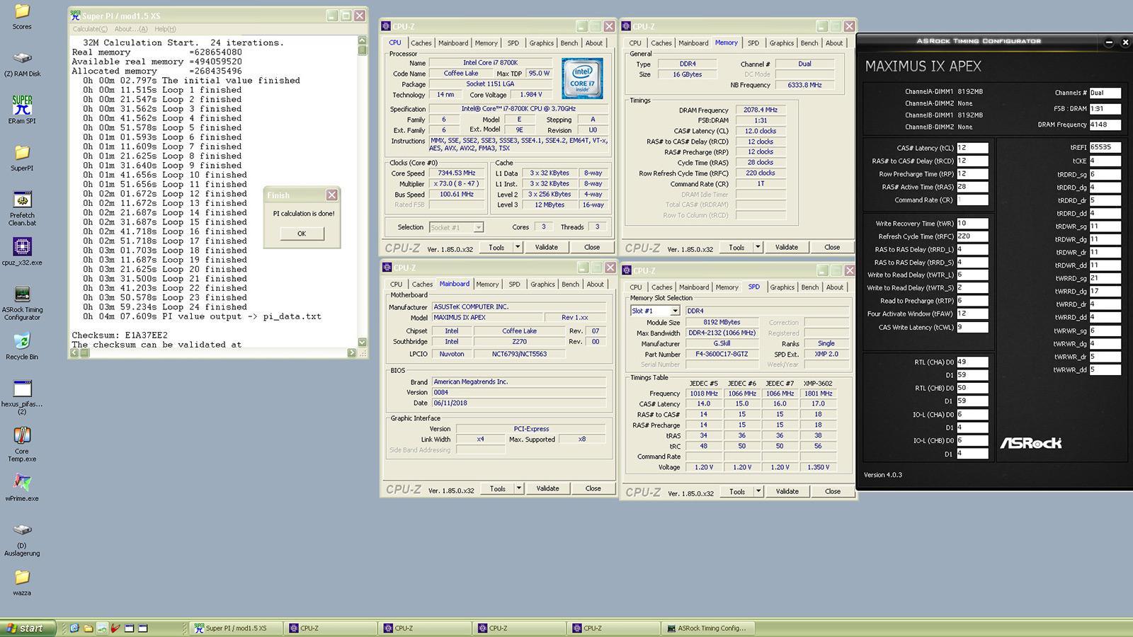 Core i7 8700K at 7.34 GHz on Z270 Chipset 2
