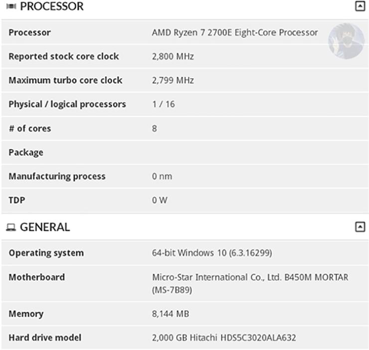 AMD Ryzen 7 2700E 2