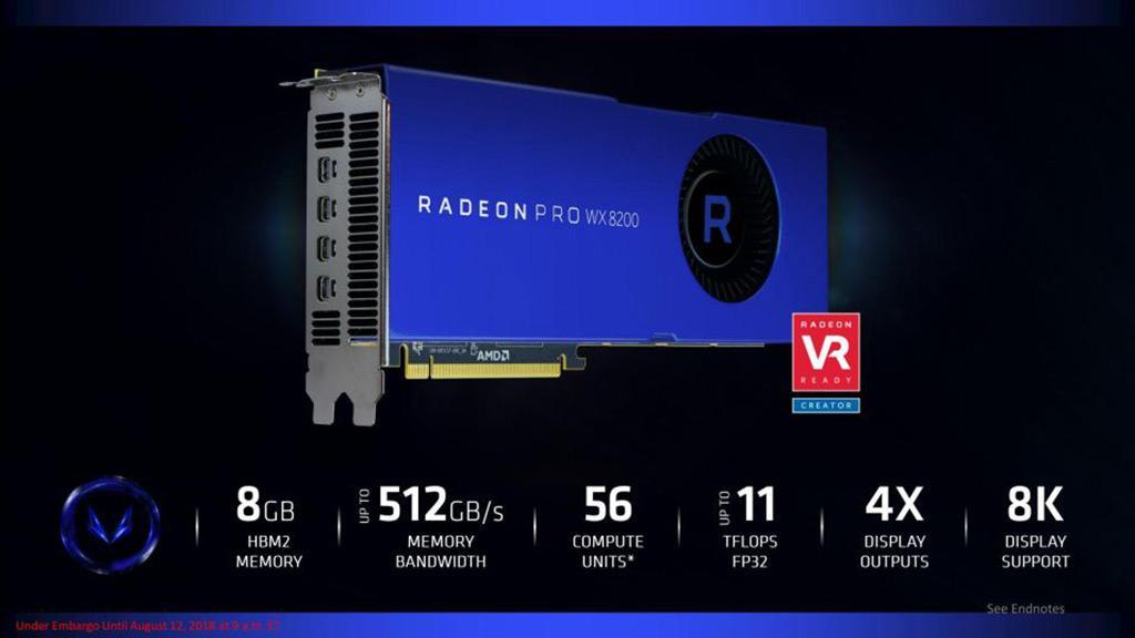 AMD выпустила профессиональный ускоритель Radeon Pro WX 8200 за $1000