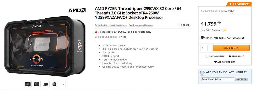 AMD Ryzen Threadripper 2990WX доступен для предзаказа на Newegg