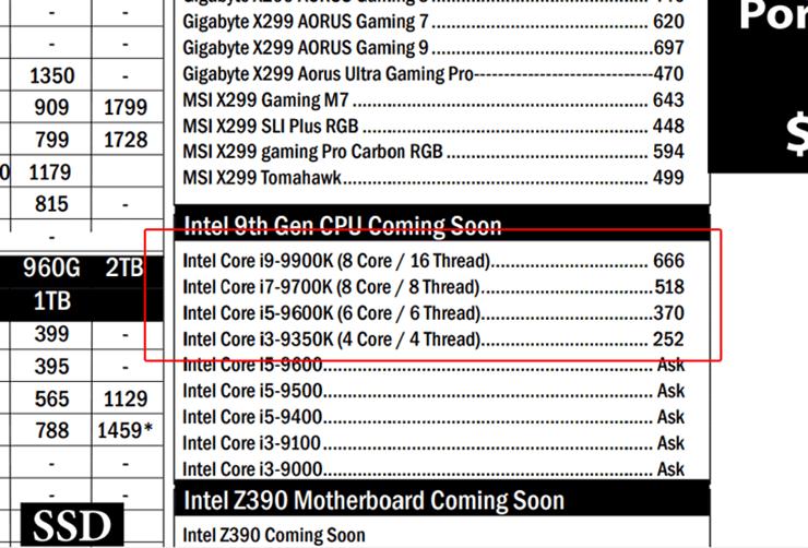 Сингапурский дистрибьютор рассекретил цены процессоров Intel Coffee Lake Refresh. Замечен Core i3-9350K