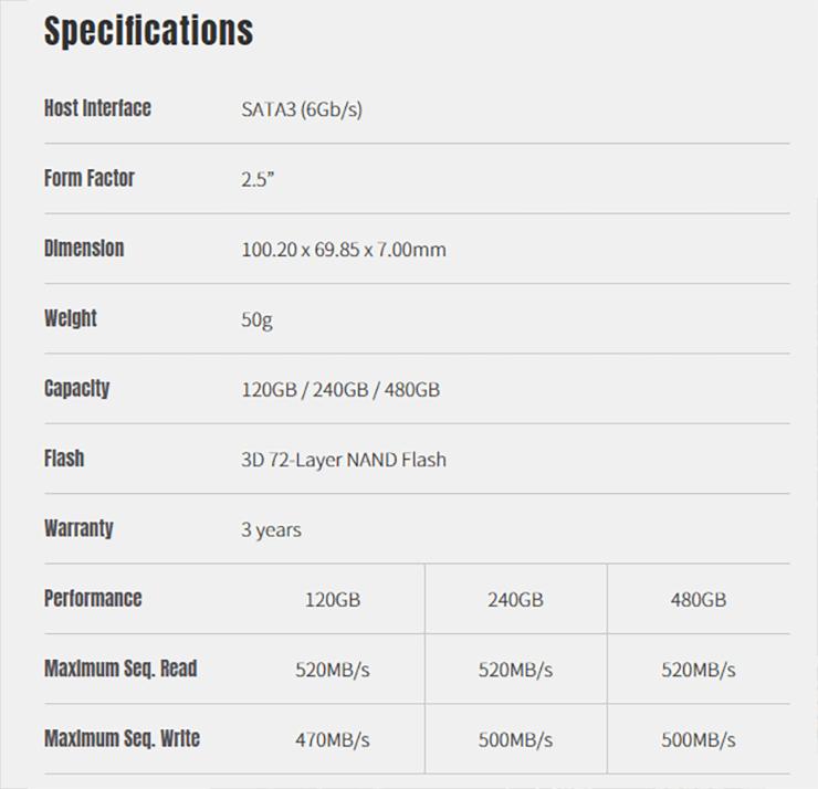 KLEVV выпускает SSD-накопители Neo N500 на основе 72-слойных чипов памяти