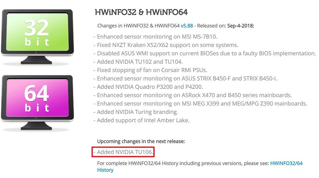 В обновлении утилиты HWinfo замечен графический процессор NVIDIA TU106 (RTX 2060)