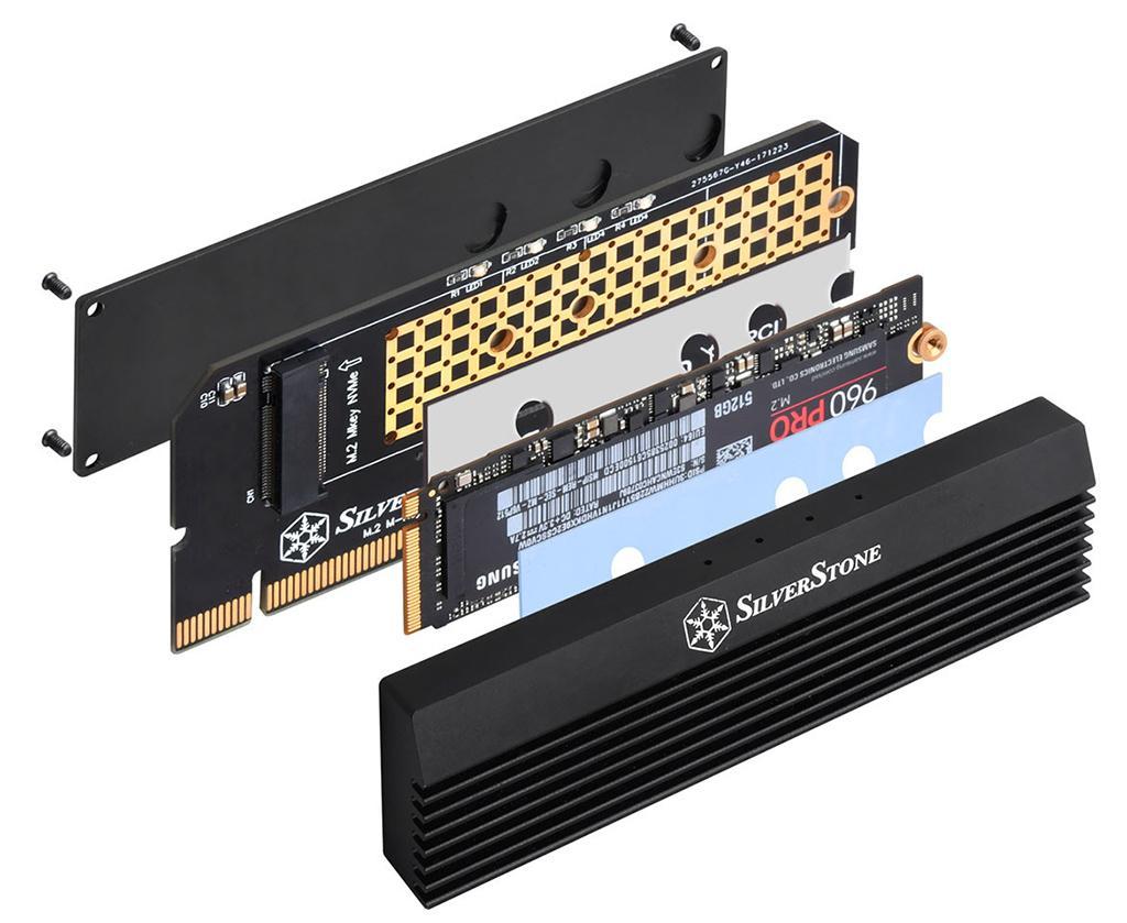 SilverStone ECM23 – M.2-адаптер с радиатором, позволяющий вставить накопитель в PCI-E слот как картридж