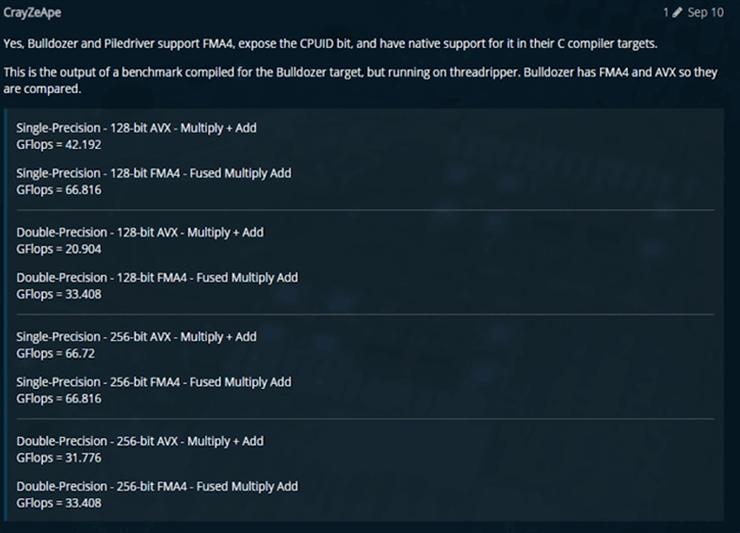Интересная находка: инструкции FMA4 у процессоров AMD Ryzen скрыты, но работают