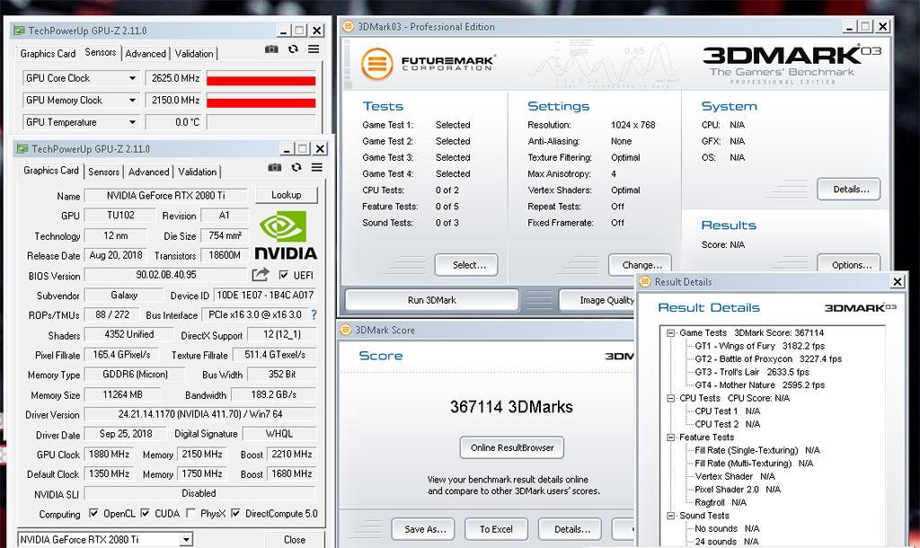 GeForce RTX 2080 Ti разогнана до 2625 МГц. Почти рекорд в 3DMark03