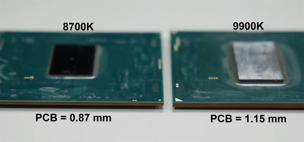 У процессоров Intel Coffee Lake Refresh более толстая подложка, и вдвое толще кристалл