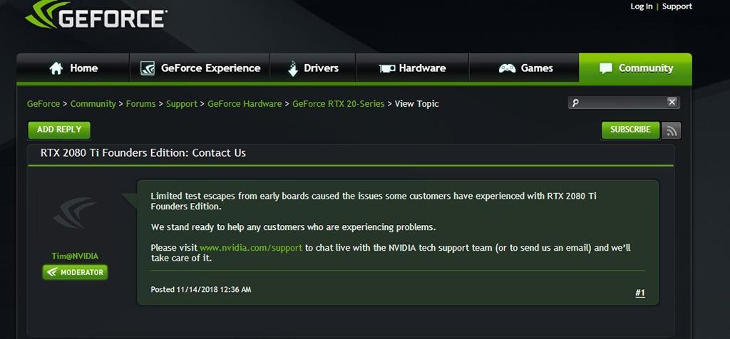 NVIDIA отреагировала на проблему с вымиранием GeForce RTX 2080 Ti