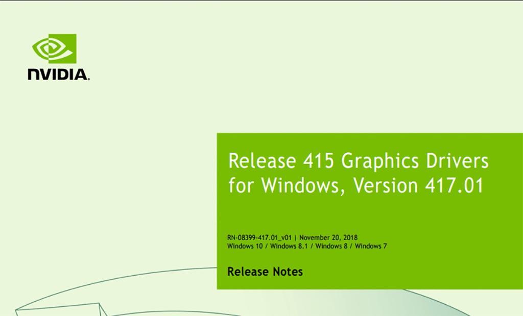 Драйвер NVIDIA GeForce обновлен (417.01 WHQL)